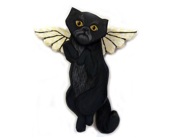 Angel Cat Black Smoke Persian Cat Angel Wooden Wall Hanging