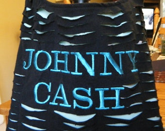 Johnny Cash Recycled/Upcycled Tshirt Cross Body Bag with XL strap