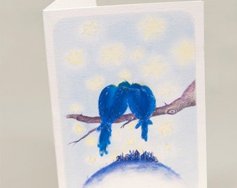 Hugging birds with a town view- Original Colour Pencil Drawing  - A4 Print or as a set of 5 folded wishcards with envelope