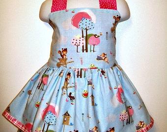 Forest Friends - Girls size 4 to 5 - Light Blue Halter Dress - matching layered Bow Headband
