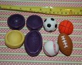 Set of 4 Sports Balls, basketball, soccer ball, football, baseball silicone molds