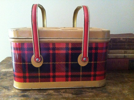 Vintage 1950's Metal Picnic Basket, by Nesco, with Lunch Box Handles in a Red, Tan and Black Plaid