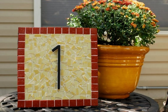 Mosaic Address Plaque, House Number Sign in Red and Yellow