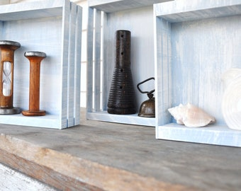 Rustic Nesting Boxes Decorative Caddy Crate Basket Pale Blue White Distressed Shabby Finish Set of Three