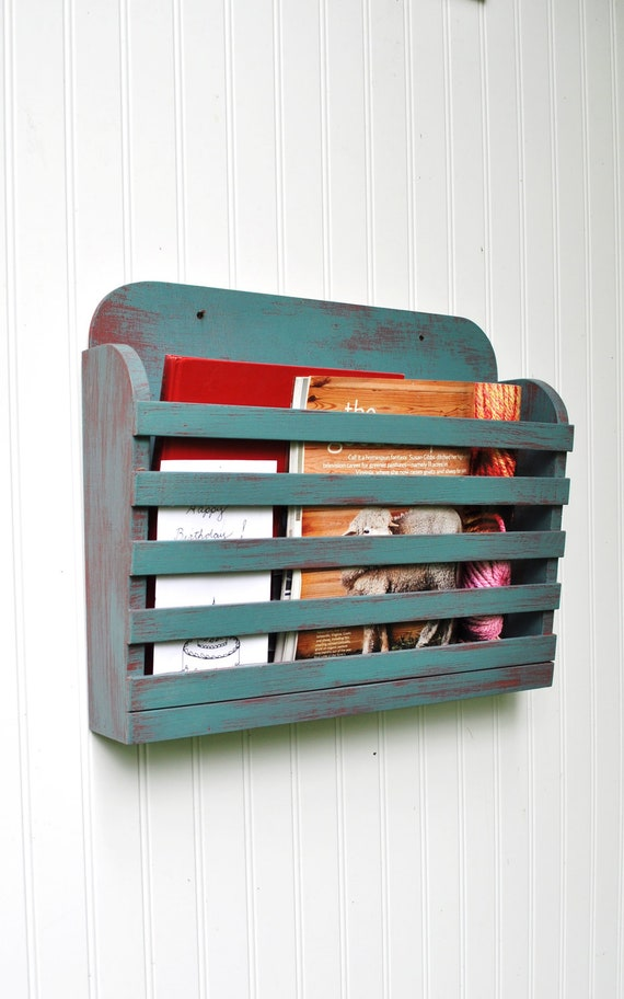 Rustic Hanging Magazine File Holder Aqua/ Red Vintage Design Storage Organizer Shabby Aged