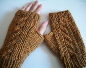 Knit fingerless mitts - cabled - gold merino wool