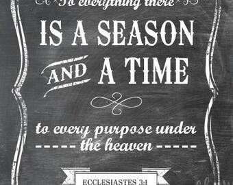 Ecclesiastes 3:1 - Chalkboard Look Print - Vertical Print