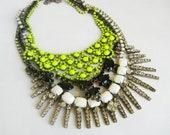 Custom Made One Of A Kind - Massive Layered Rhinestone Hand Painted Bib Necklace