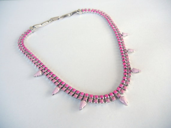 Vintage 1950s One Of  A Kind Hand Painted Pink Ombre Design Rhinestone Necklace