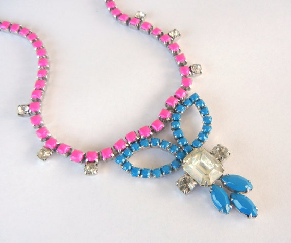 Vintage 1950s One Of  A Kind  Hand Painted Gorgeous Blue and Fucsia Rhinestone Necklace