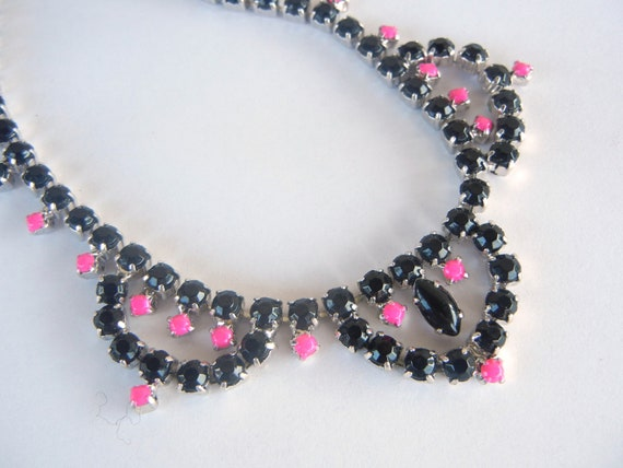 RESERVED FOR JEAN Vintage 1950s One Of  A Kind  Hand Painted Black and Fucsia Rhinestone Necklace