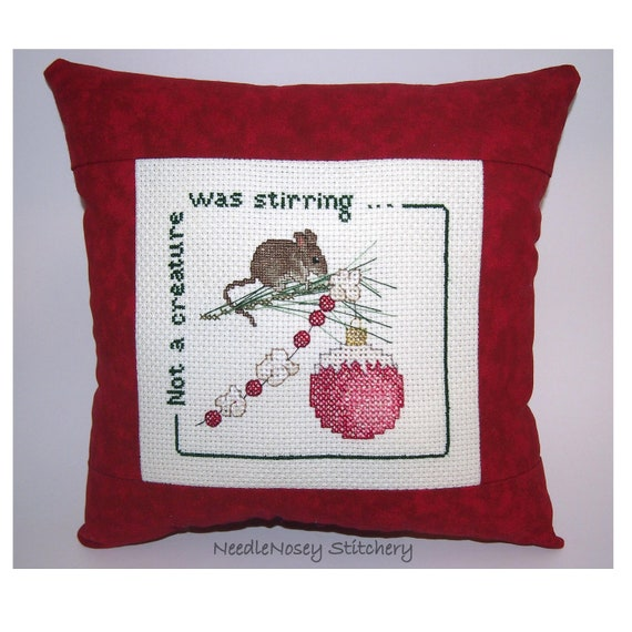 Christmas Cross Stitch Pillow, Red Pillow, Not A Creature Was Stirring...