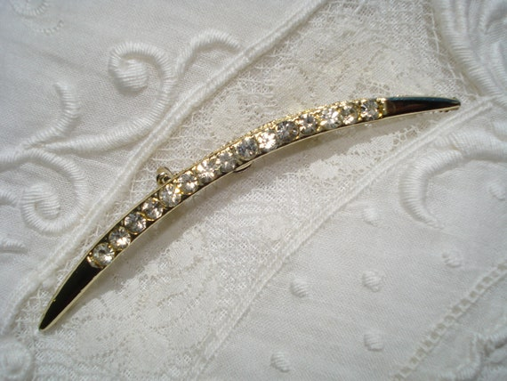 Vintage Crescent Rhinestone Gold Tone Brooch Pin
