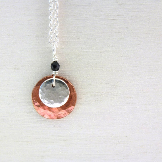 Hammered Disc Necklace Copper Jewelry Sterling Silver Mixed Metal Circles