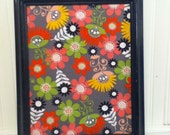 Black. Framed, Fabric, Cork Board, Floral, Shabby, Memo Board, Wall Decor, Bright, Cottage