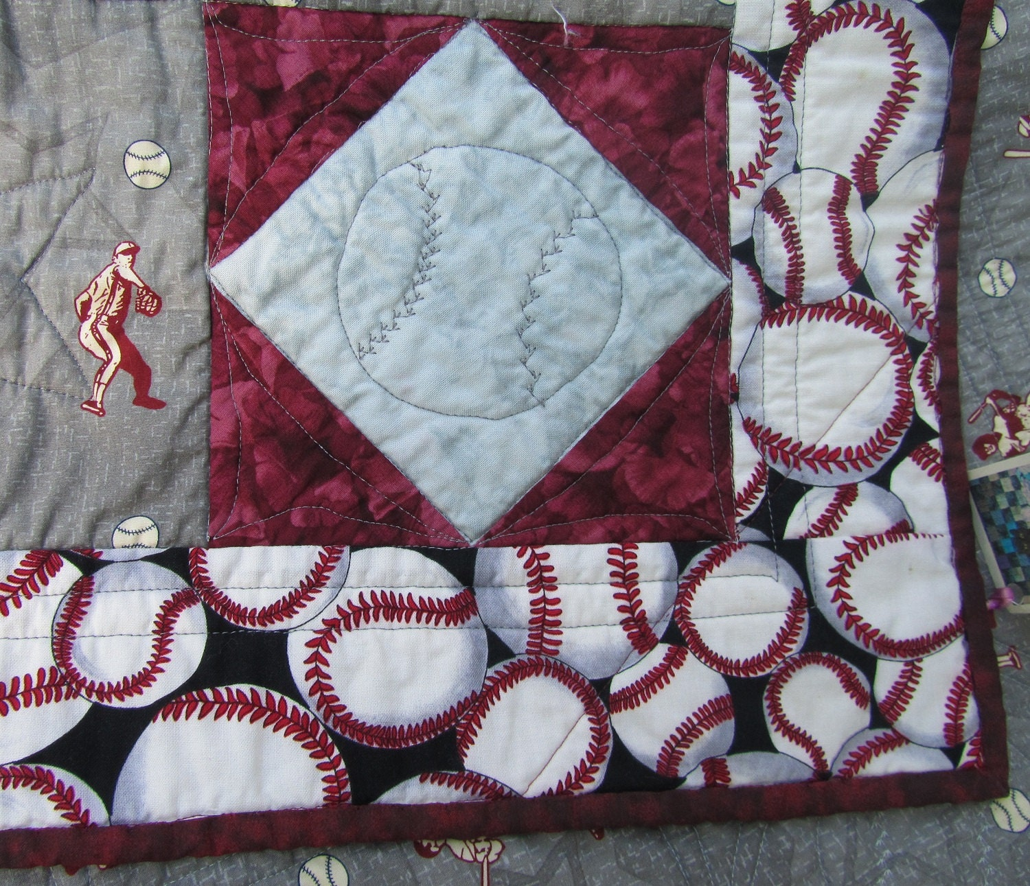 Baseball Baby Quilt Or Lap Quilt In Gray And Maroon