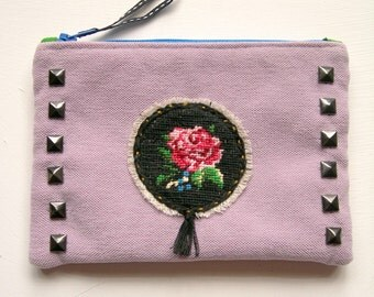 Mauve Purse with Embroidered Motif and Studs.Royal Blue. Emerald Green.Pouch  OOAK