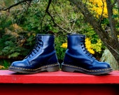 80s Dark Blue Dr Martens Leather Army / Combat 8 Eye Boots - UK 6 - Goth Punk Oi Grunge - Made in England - UK6