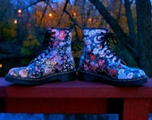 Dr Martens Floral Flower Boots- 8 Eye Sienna Miller Must Haves- Grunge Punk Rave - UK 5 - Made In England