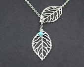 Silver Leaf Necklace Blue Pearl, Leaf Lariat, Turquoise Blue by SweetBluebirdJewelry