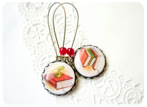 Back to school earrings - Bookworm - book earrings - ready to ship - tangerine green - fall jewelry