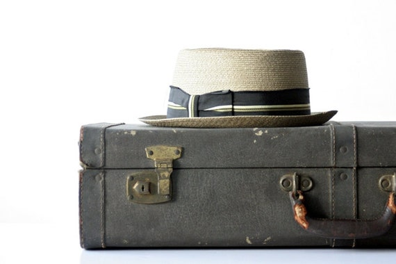 1930's Dark Brown Leather Suitcase with Soft Pale Gold Cloth Interior