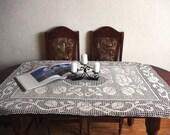 Crochet table runner tablecloth white handmade linen crochet table runner tablecloth with roses