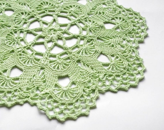 SALE 20% OFF - Green crochet doily: light green handmade cotton crochet doily, flower doily