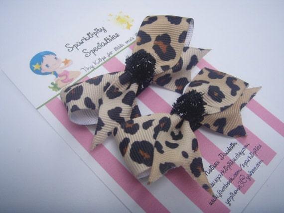 Leopard Cheetah Hair Bows - Black & Brown