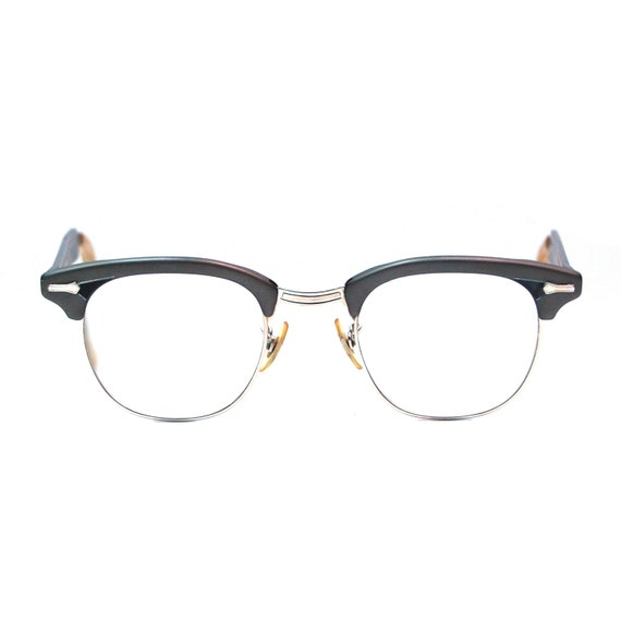 Black And Gold Eyeglass Frames : Vintage Eyeglasses Gold Filled Shuron Gray and Black by ...
