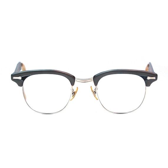 Glasses Frames Black And Gold : Vintage Eyeglasses Gold Filled Shuron Gray and Black by ...