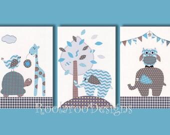 "Nursery Art Print, Baby Nursery Decor, Elephant Nursery, Owl Decor, Blue & Brown, Giraffe, 11x14"" Prints, Thoughtful Friends"