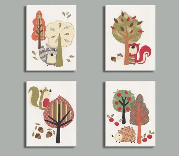 Woodland Nursery Wall Decor : Woodland nursery art kids wall fall decor autumn