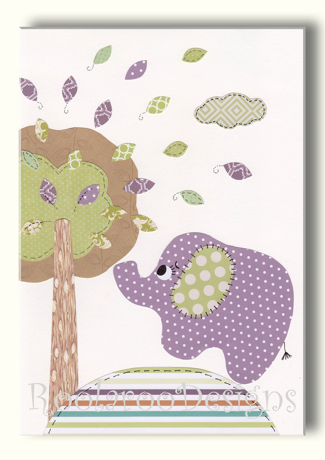 Elephant nursery decor baby girl wall art tree bird by for Elephant mural nursery