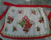 Vintage Linen Christmas Bells Apron ECS