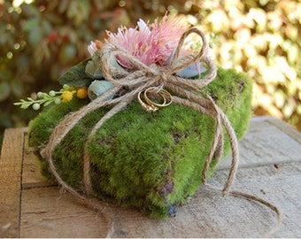 Ring Pillow - Moss Ring Pillow - Ring Bearer, Lined with artificial Moss and decorated with Australian Native Flowers and Foliage