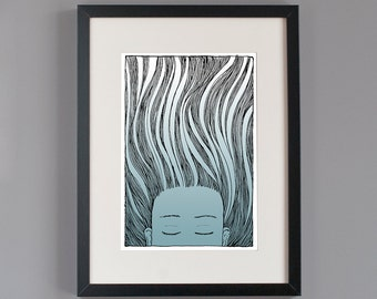 SALE Under water girl Blue glicee print: The very last ones!