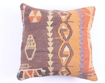 VINTAGE Wool Pillow Case - VINTAGE Turkish decorative kilim pillow cover,16''X16'', Bohemian Home Decor,