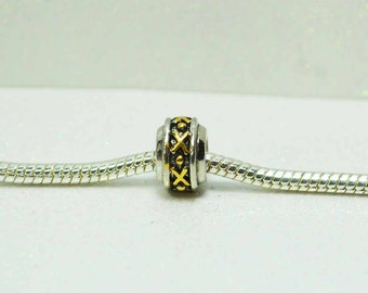 Silver with Gold  X Design  Spacer Bead  For European Style Charm Bracelet