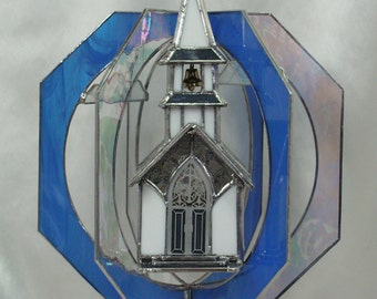Lighted Stained Glass Church Suncatcher Whirl