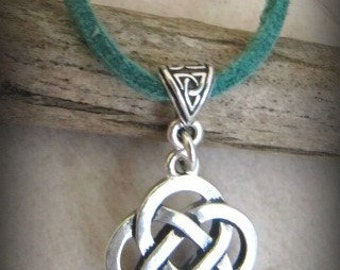 Silver Celtic Irish Knot Necklace with Teal Green Suede or Black Suede - your choice