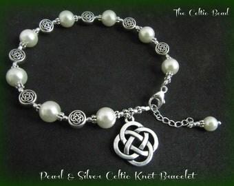 Silver Celtic Knot & Pearl Charm Bracelet