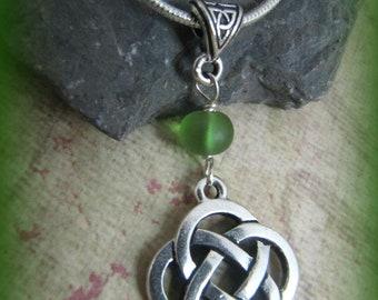 Silver Celtic Knot & Sea Glass Necklace
