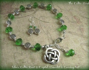 Silver Celtic Knot & Green Crystal Bracelet and Earring Set