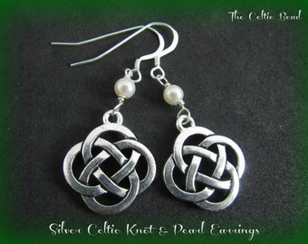 Silver Celtic Knot & Swarovski Pearl Earrings