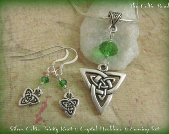 Silver Celtic Trinity  Knot & Green Crystal Necklace and Earring Set