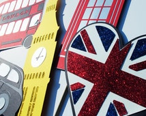6 Pc British Photo Booth Props - Royal Wedding Photobooth Prop Collection