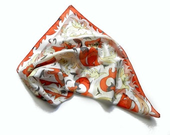 Silk scarf  with mother and baby foxes .Ready to ship.