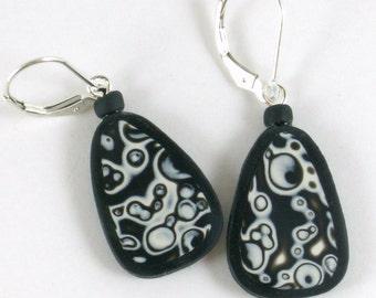 Mod earrings polymer clay black white bubbles small teardrop