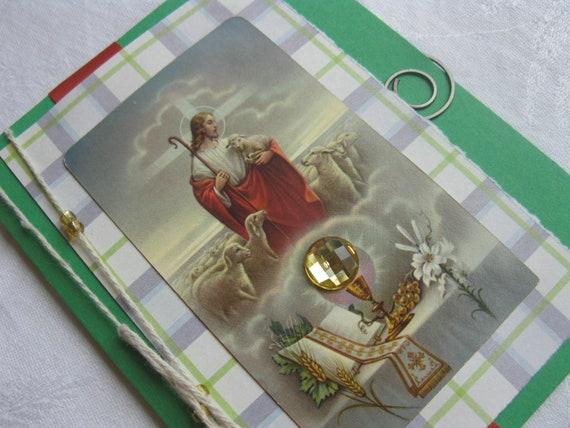The Good Shepherd Catholic Handmade Card Green